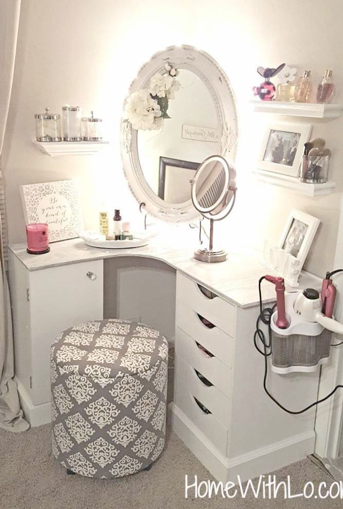 Makeup Organization Vanity Diy, Makeup Vanity No Mirror