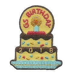 Girl Scout Birthday 2018 Fun Patch. Celebrate Girl Scout birthday in 2018 and this is the patch your troop will look forward to adding to their vest. Available at MakingFriends®.com