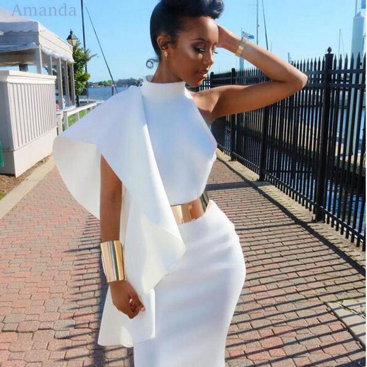 Azul marino de la colmena del hombro midi vestido 2017 blanco elegante vestido de las mujeres ropa vestido sexy sin respaldo de hendidura negro Viernes