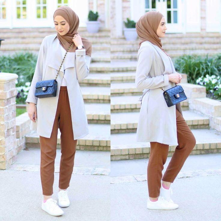 long jacket- adidas sneaker with hijab- tan pants- tan hijab- chanel bag-  Classy…