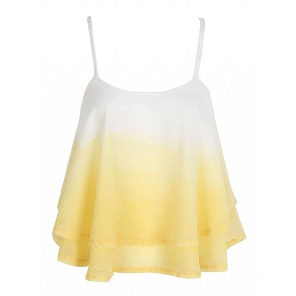 Choies Yellow Cross Back Layered Ruffle Faded Cami Top (42 BRL) ❤ liked on Polyvore featuring tops, shirts, crop top, tank tops, yellow, cami shirt, cami tank tops, crop tank and ruffle shirt