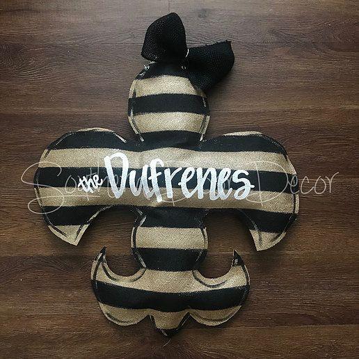 Black And Gold Striped Fleur De Lis Door Hanger Website Gold Stripes Door Hangers Fleur De Lis