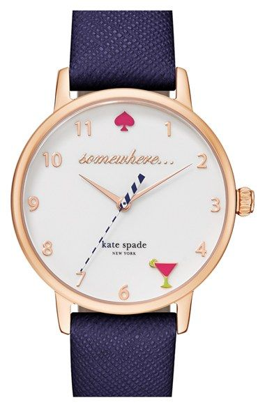 kate spade new york 'metro - somewhere' leather strap watch, 34mm available at #Nordstrom