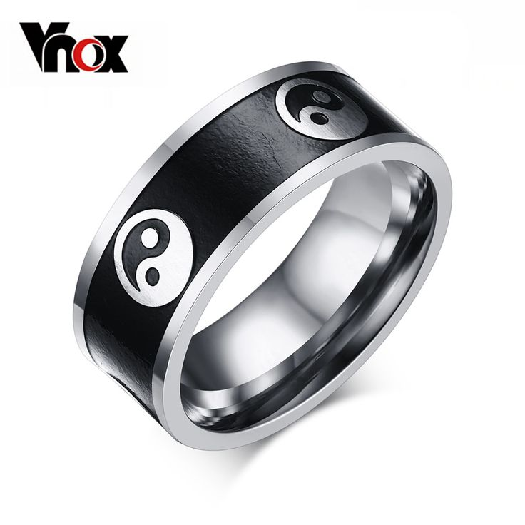 Vnox Vintage Style Men's Ring Stainless Steel Men Jewelry Chinese Taoism Taiji Rings for Men