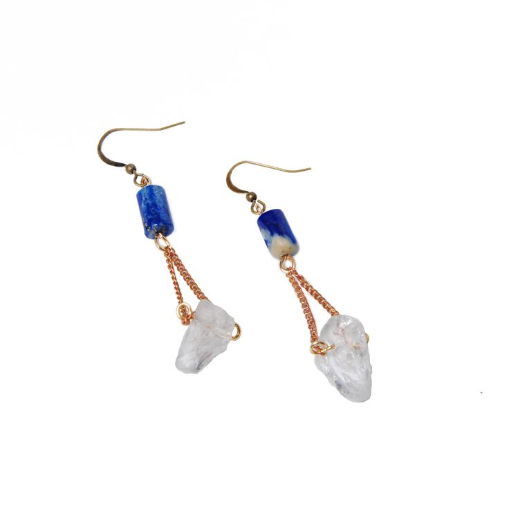 Artifacts - Bayard Earrings - Quartz and lapis lazuli