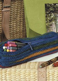 Free crochet patterns Stripes Pencil Case