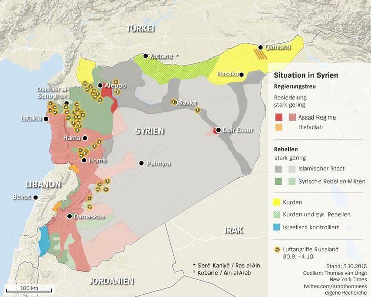 Karte mit den russischen Angriffen in Syrien, Stand: 3.10.2015.