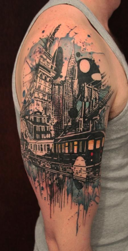 gene coffey cityscape tattoo tatuajes pinterest