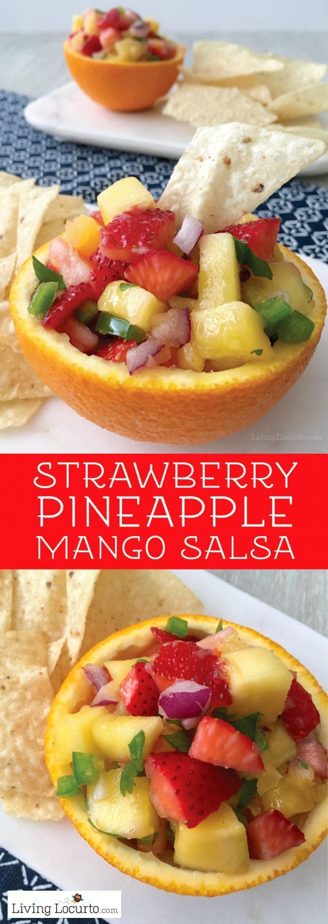 Easy fruit salsa recipe. Sweet and spicy Strawberry Pineapple Mango Salsa is a fabulous healthy dip served in orange bowls! Perfect party food.