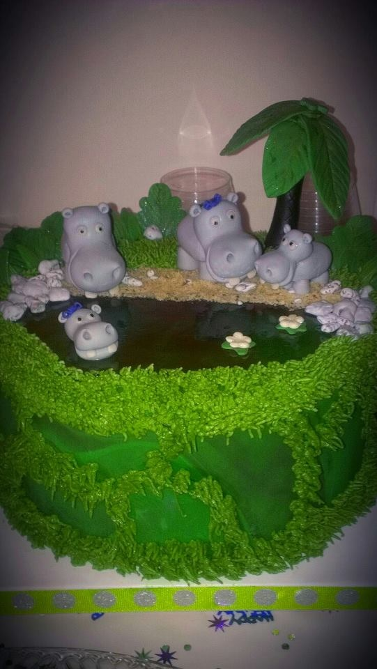 Birthday Cakes - *  Hippo themed birthday cake.