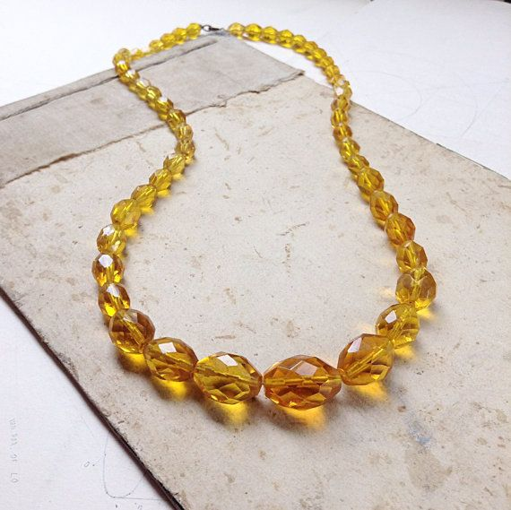 Gorgeous Vintage Graduated Amber Crystal by MyVintageSupplies