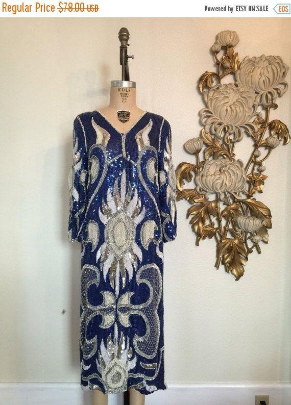 Automne vente des années 1980 robe flapper robe sequin robe des années 1920 style robe des années 20 costume vintage robe perlée robe de taille moyenne