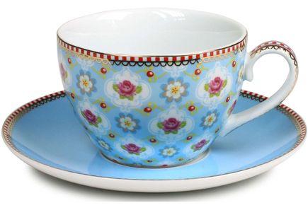 Pip Studio - PiP Studio Blossom -kahvikuppi ja lautanen, sininen