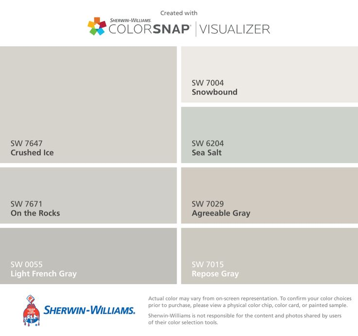 I found these colors with ColorSnap® Visualizer for iPhone by Sherwin-Williams: Crushed Ice (SW 7647), On the Rocks (SW 7671), Light French Gray (SW 0055), Snowbound (SW 7004), Sea Salt (SW 6204), Agreeable Gray (SW 7029), Repose Gray (SW 7015).