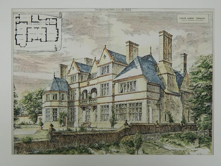Gray's Lodge,Torquay, England, 1883. John D. Sedding. Original Plan