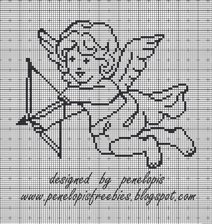 Penelopis' cross stitch freebies: angel/aniol