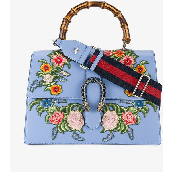 Gucci Blue Dionysus Embroidered Shoulder Bag (6,550 CAD) ❤ liked on Polyvore featuring bags, handbags, shoulder bags, blue, blue handbags, blue leather purse, genuine leather handbags, blue shoulder bag and embroidered leather purse