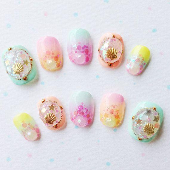 Kawaii nails https://www.etsy.com/listing/160208146/pastel-shell-nail-tips-japanese-kawaii