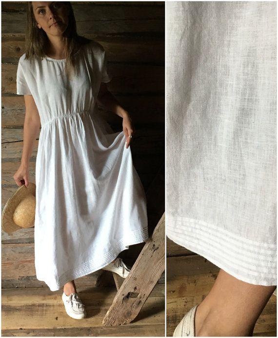 Maxi vestido de lino blanco largo vestido de lino por linenbees