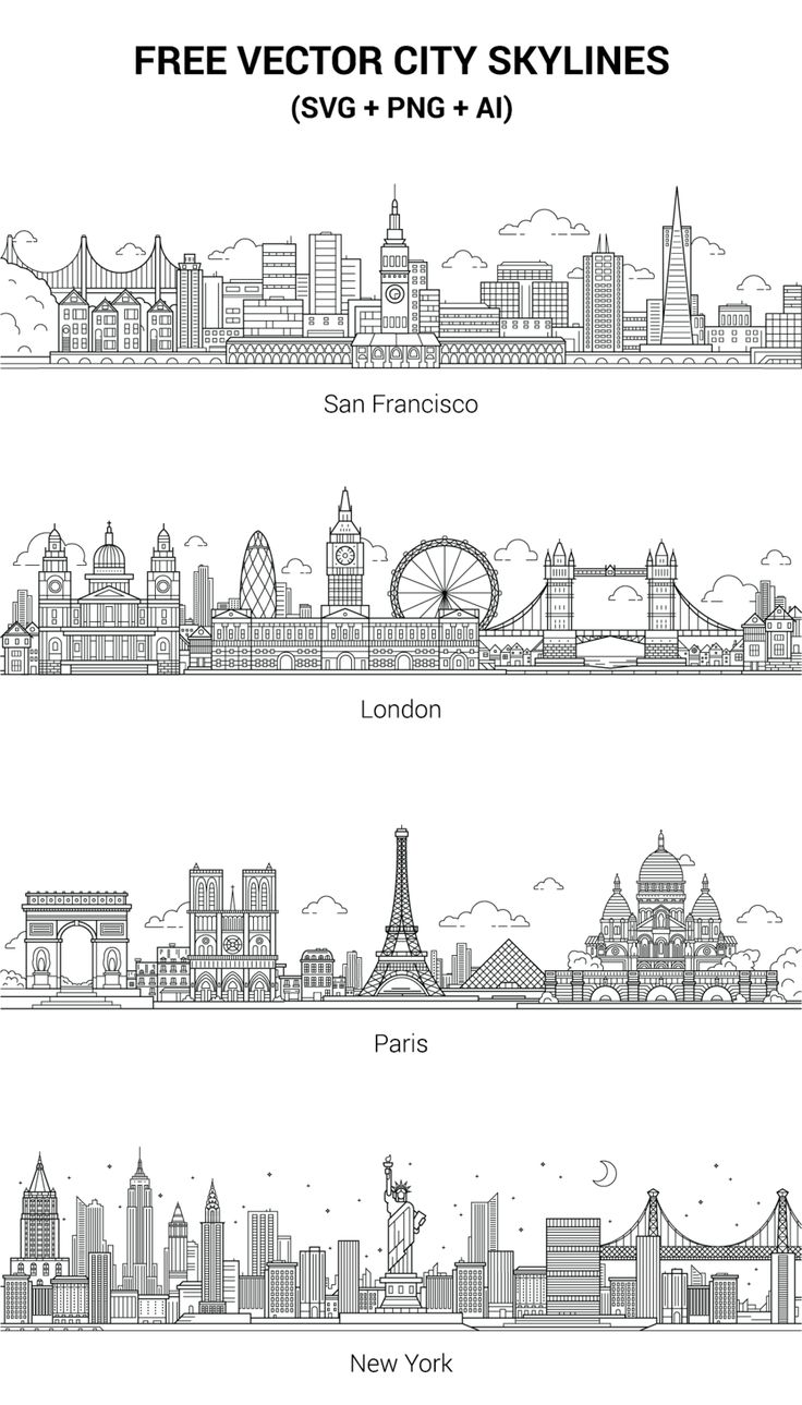 City skylines: .png, .svg, .ai. Enjoy!