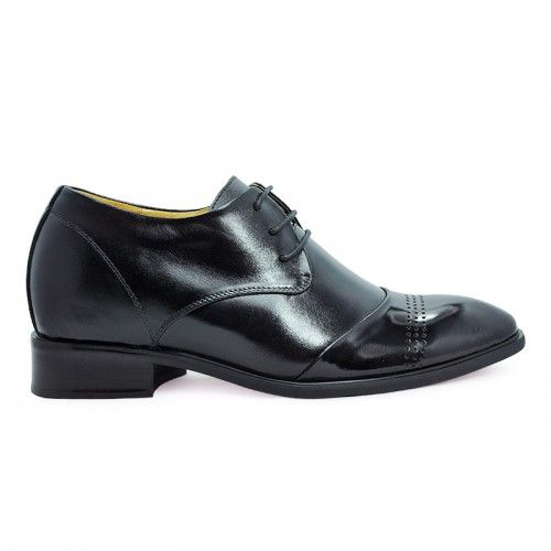 Hidden high heel shoes for men - Black fashion dress elevator shoes for men height increase 7cm/2.75inchs heighten shoes with SKU: MENJGL_8121 from Topoutshoes online store