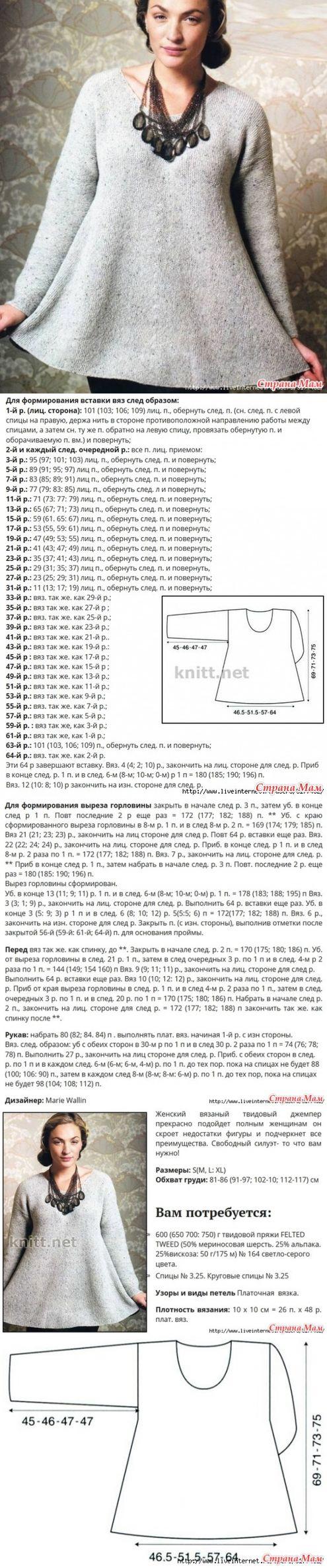 . Женский твидовый джемпер-туника от дизайнера Marie Wallin - Вязание - Страна Мам