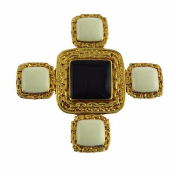 White Enamel and Gold Maltese Cross Brooch