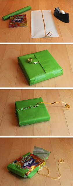 How to wrap gifts so that Babies can open them. Awesome. diy gift wrapping brilliance.