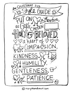 """Colossians 3:12 """"put on"""" Bible verse character coloring page (Attempting to """"practice kindness."""")"""