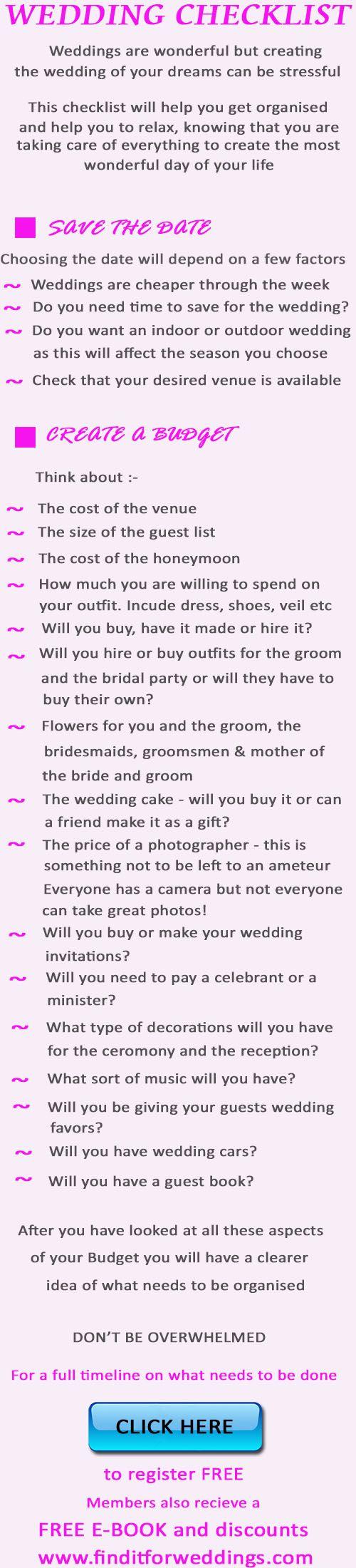 Best Wedding Preparation  Checklist Wedding Rehearsal Budget