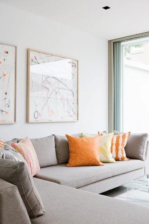 T01 Architecture - Projects - Paddington, gray and organe colour scheme lounge sofa throw cushions contemporary art work