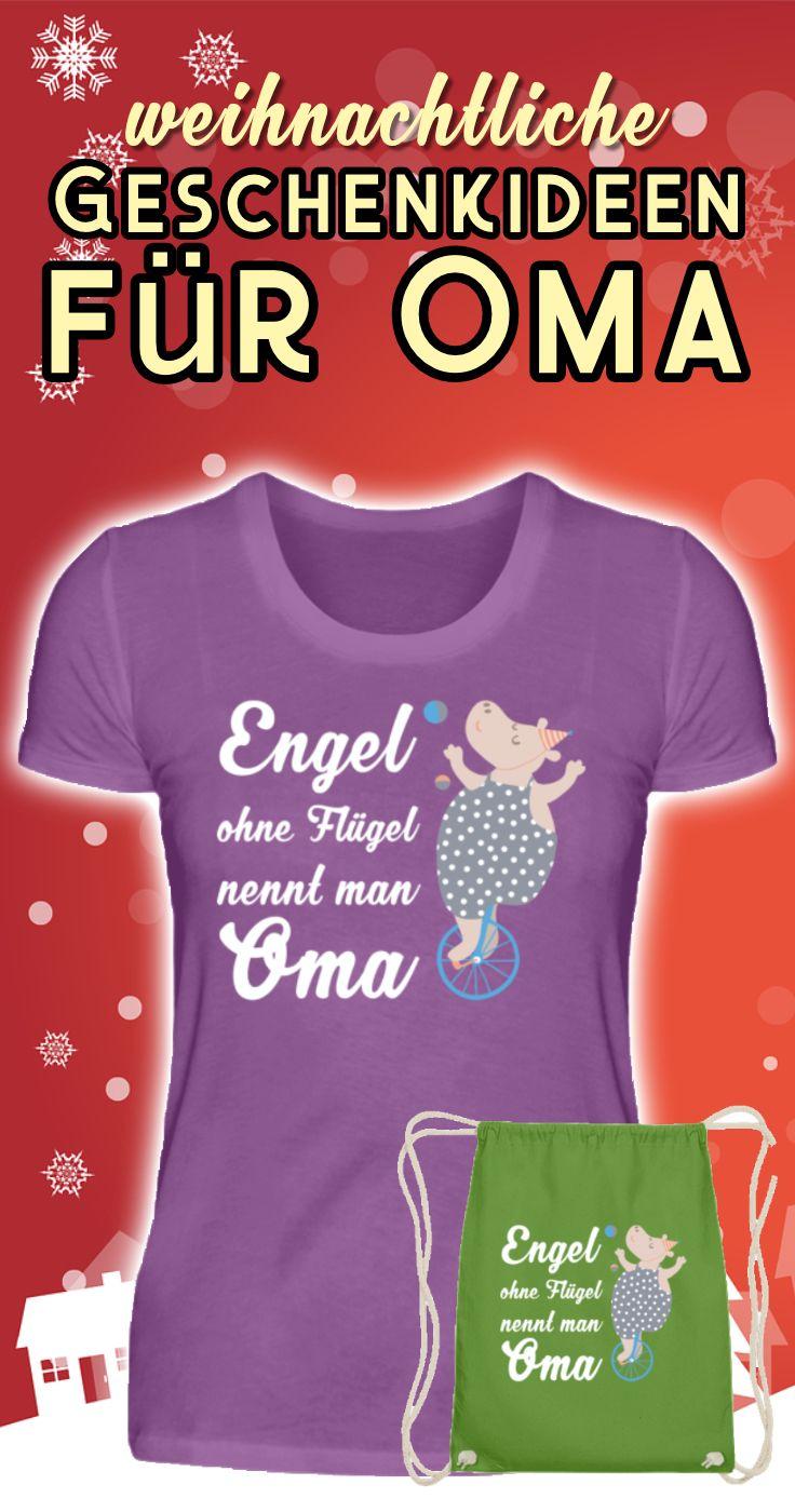 """Schon mal auf den Kalender geschaut? Bald ist Weihnachten! Genau, und hier kommt die weihnachtliche Geschenkidee für Omas! """"Engel ohne Flügel nennt man Oma"""" ist für jede Großmutter ein perfektes Geschenk - egal ob zu Weihnachten, zum Geburtstag oder einfach als kleine Aufmerksamkeit zwischendurch. Erhältlich als T-Shirt, als kuscheliger Hoodie, Pullover, Kaffeebecher uvm. - JETZT BESTELLEN & DER WEIHNACHTSMANN KANN KOMMEN! #weihnachten #weihnachtsgeschenk #grossmutter #geschenkidee #oma #omi"""