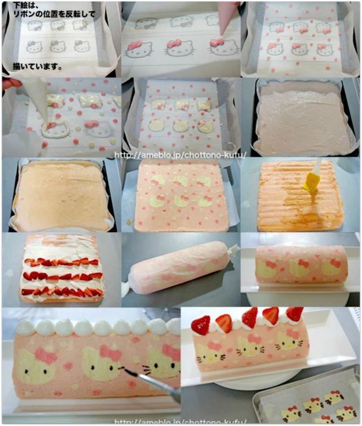 pastel pink cute Swiss rolls Hello Kitty cake rolls