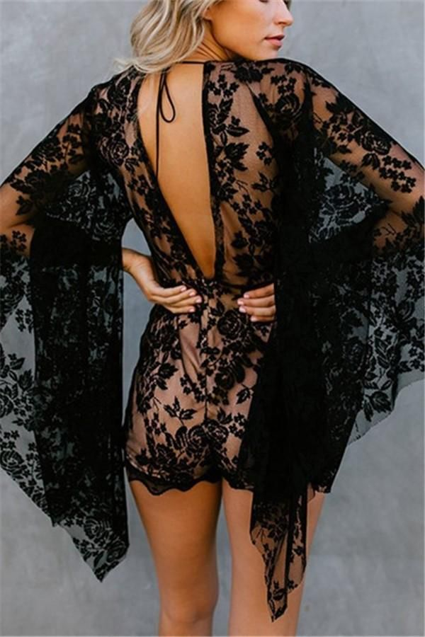 Sexy Deep V Neck Flared Sleeve Lace Jumpsuit