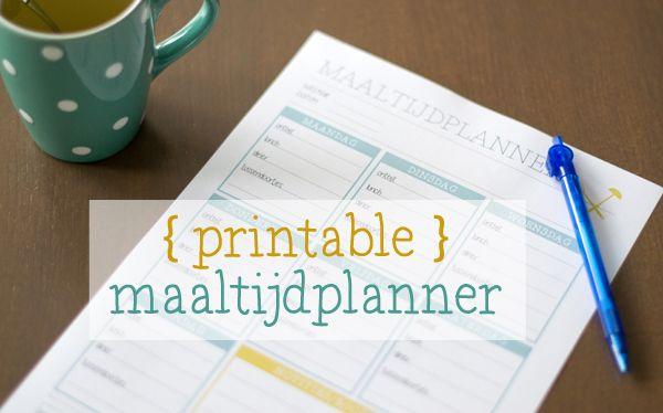 Free Printable: Maaltijdplanner | Ideaal bij het plannen van de wekelijkse maaltijden | via BrendaKookt.nl