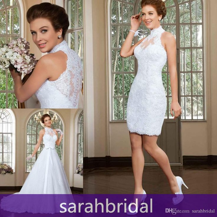 2016 Two Piece Wedding Ceremony Dresses 2 In 1 Stylish Short Sheath Lace Bridal Fancy Gowns With Long Detachable A Line Train Skirt Vestidos Brides Dresses Cheap Wedding Dresses Uk From Sarahbridal, $142.92  Dhgate.Com