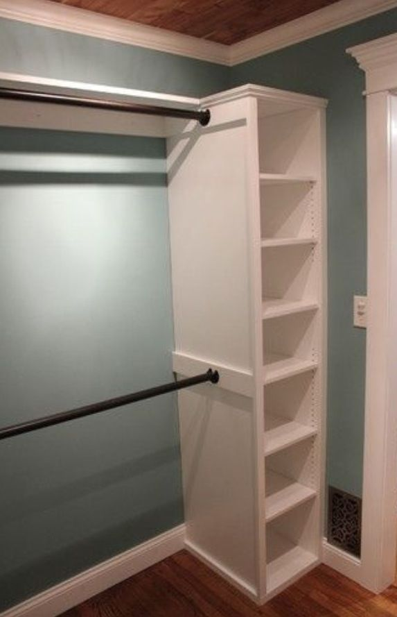Trim out basic storage bookcases and add hanging bars for for Adding a walk in closet