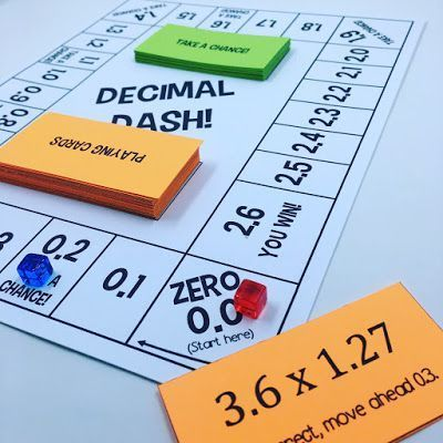 In my opinion, it never hurts to add another math game to the classroom repertoire! One concept that we review early on in 6th grade math is multiplying decimals. I decided to create a board game that
