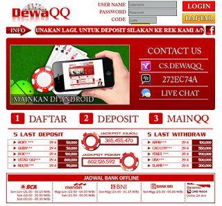 Temukan keseruan bermain poker online bersama dewaqq.com. Poker online yang mendukung pembayaran lewat Bank BCA, BNI, BRI,  CIMB Niaga, Bank Danamon dan Bank Mandiri. dewaqq.com menghadirkan permainan Poker, Domino 99, Capsa Susun, AduQ (Poker, QQ, Ceme, BlackJack). Dapat bermainan langsung pada situs/ website ataupun download aplikasi untuk android, ipone dan ipad. http://duniaonlineoke.blogspot.sg/2015/07/dewaqqcom-poker-online.html