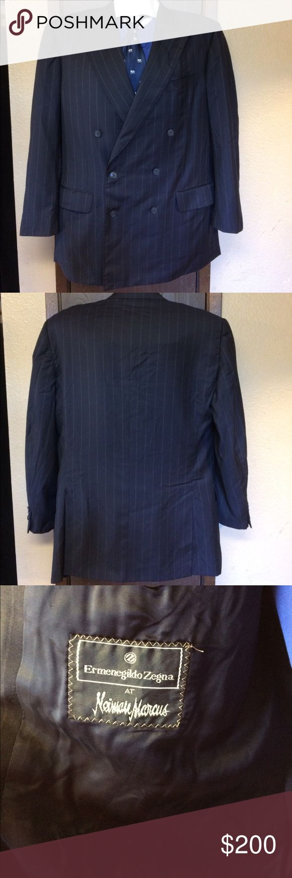 """Ermenegildo Zegna Super 100's Pinstripe Sport Coat Ermenegildo Zegna Fine Worsted Super 100's Double Breasted Sport Coat. White on Black Pinstripe. Size 44L. Measures 46"""" Chest, 19.5"""" Shoulders, and 34"""" in Length.  Made in Italy. In very good condition, with no stains or holes  Ermenegildo Zegna Suits & Blazers Sport Coats & Blazers"""