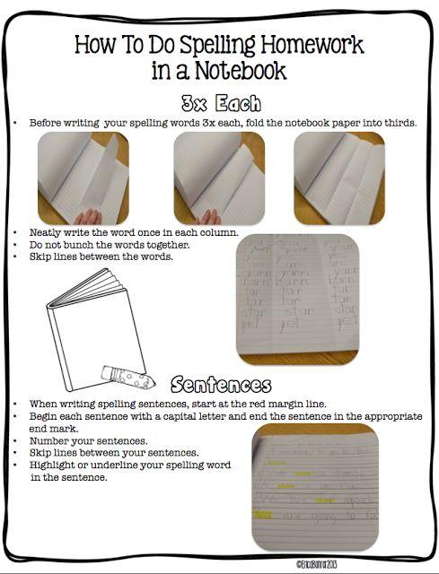 Erica's Ed-Ventures: Spelling Homework Menu - teach how to use spelling notebook