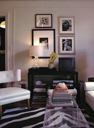 Ron Marvin Hollywood Regency Living Room Design With White Black Zebra Rug Vinyl