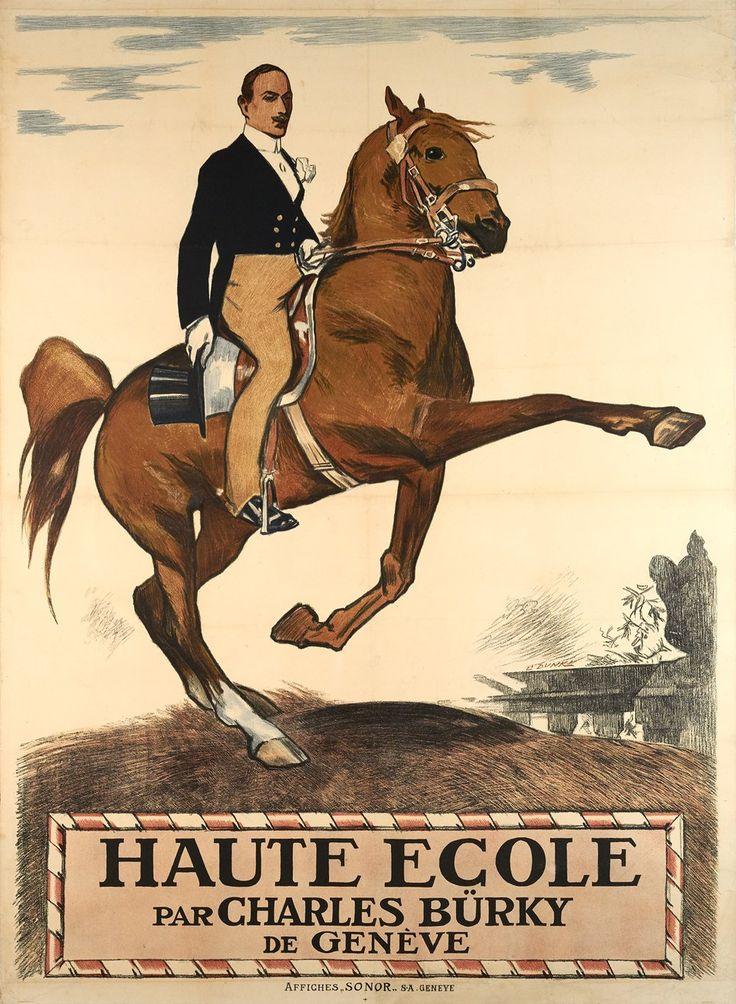 Haute Ecole Charles Burky Geneve Affiche Ancienne Louis Dunki