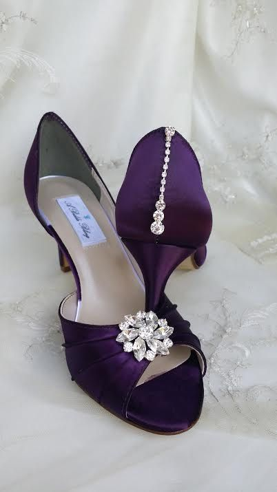 Purple Eggplant Bridal Shoes with Crystals Over by ABiddaBling