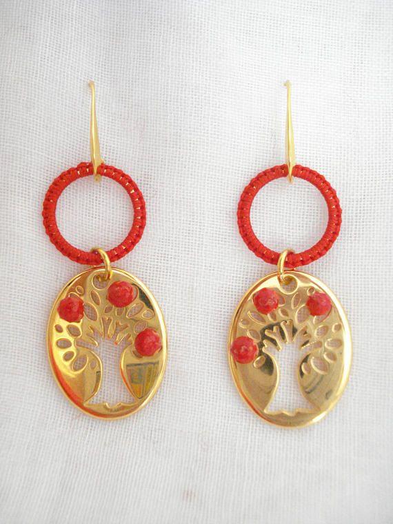 Tree of life earrings gold Family tree Tree of life beaded