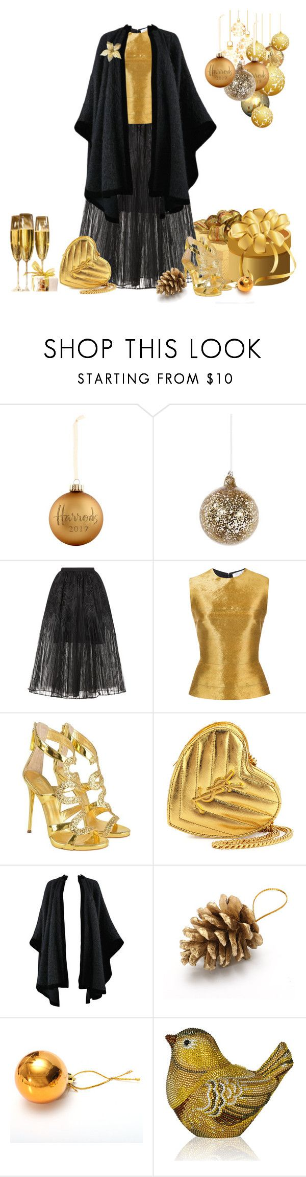 """Christmas lunch outfit."" by cardigurl ❤ liked on Polyvore featuring Harrods, Shishi, Elie Saab, Oscar de la Renta, Giuseppe Zanotti, Yves Saint Laurent and Judith Leiber"