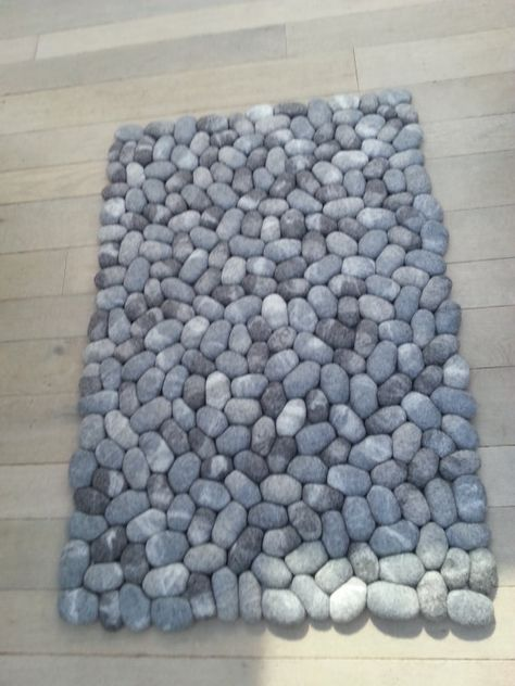 Felt stone rug supersoft pebbles gray by flussdesign on Etsy