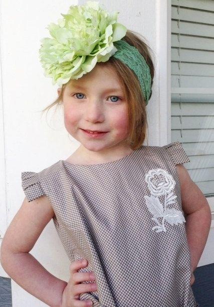 Ispirazione vintage verde fiore fascia fascia verde di lexicouture