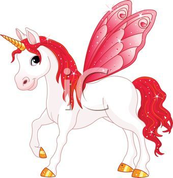Animated Unicorns And Pegasus Unicorn With Red Wings Royalty Free Clip Art Image
