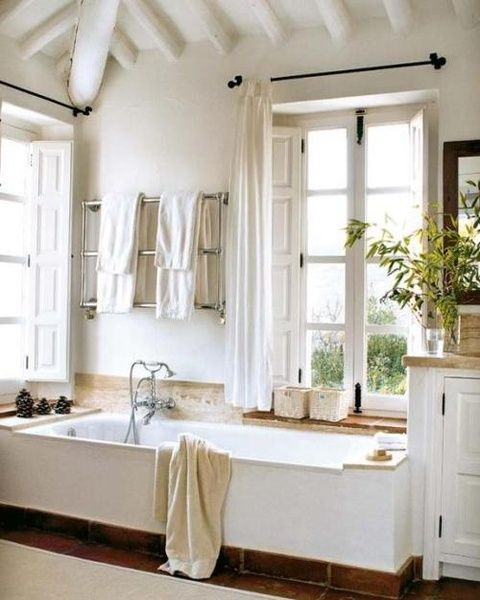 White country bathroom. This would fit master bath well. Where the window is on north side you need to build small book case